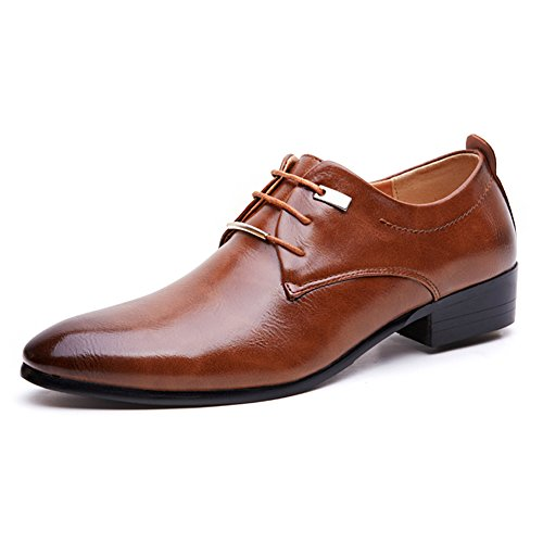 Mens Dress Tuxedo Shoe (Blivener Men's Tuxedo Dress Shoes Fashion Oxford Brown US9.5)