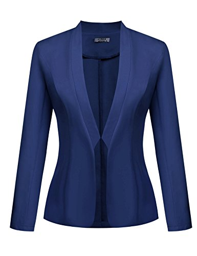 ACEVOG Women's Long Sleeve Casual Office Jacket Slim Fit Blazer Coats Blue 2 L