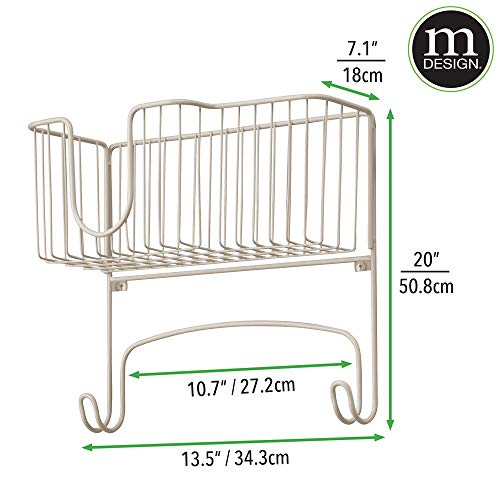 mDesign Metal Wall Mount Ironing Board Holder with Large Storage Basket - Easy Installation, Holds Iron, Board, Spray Bottles, Starch, Fabric Refresher for Laundry Rooms - Satin