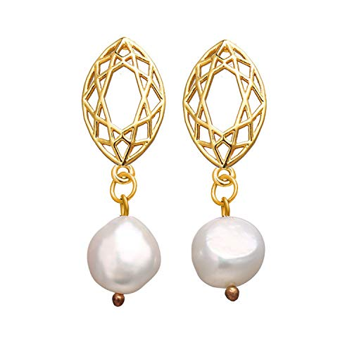 Vintage Gold Drop Earrings For Women 2019 Brincos Geometric Drop Earring Big DIY Wedding Irregular Freshwater Pearl Jewelry,Fasas 1437 a