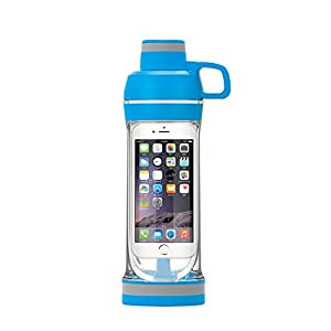 IPhone Sport Water Bottle Safe and Waterproof Mobile Phone Holder Design, Blue