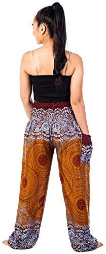 Lofbaz Mujer Harem Hippy Pantaloni cintura elástica bonzaai pantalones Rose 1 Marrón