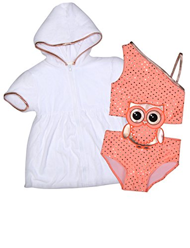 Baby Buns Girl's One Piece Swimsuit with Cover up Set (Toddler/Little Girl), Owl, Size 5