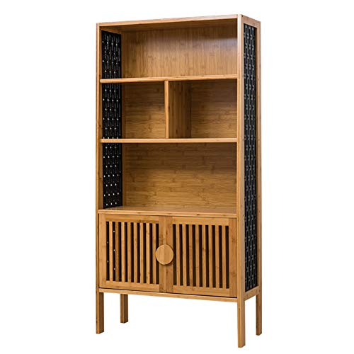 (DULPLAY Vintage Bamboo Natural Bookshelf,Simple Multifunctional Carved Shelf Bookcase Multi-Layer Storage Organizer for Records & Books-B 69.5x29x139cm(27x11x55inch))