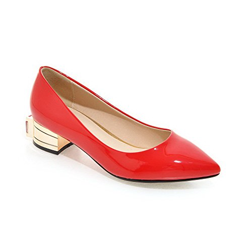 AllhqFashion Womens Low-Heels Patent Leather Solid Pull-on Pointed Closed Toe Pumps-Shoes Red