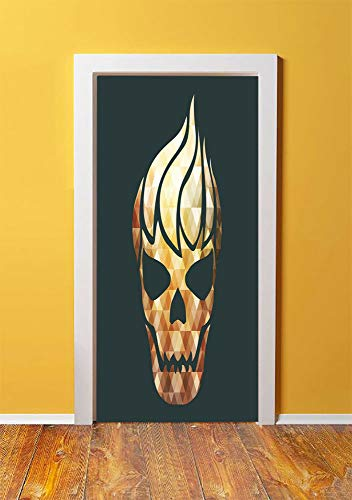 Modern 3D Door Sticker Wall Decals Mural Wallpaper,Gothic Skull with Fractal Effects in Fire Evil Halloween Concept,DIY Art Home Decor Poster Decoration 30.3x78.2071,Yellow Light Caramel Dark Grey -