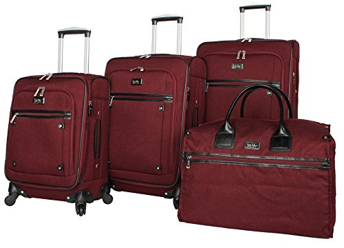 Nicole Miller New York Taylor Set of 4: Box Bag, 20'', 24'', 28'' Expandable Spinner Luggages (Burgundy) by Nicole Miller
