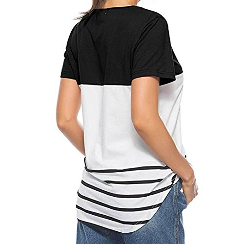 à manches shirt Noir longues décontracté rayé Tefamore courtes manches T à ❤️Femmes aSq0U