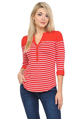 Sweethabit Women's Casual V Neck 3/4 Sleeve Stripe Henley Shirt Top Tee 3/4 Sleeve Henley In Red
