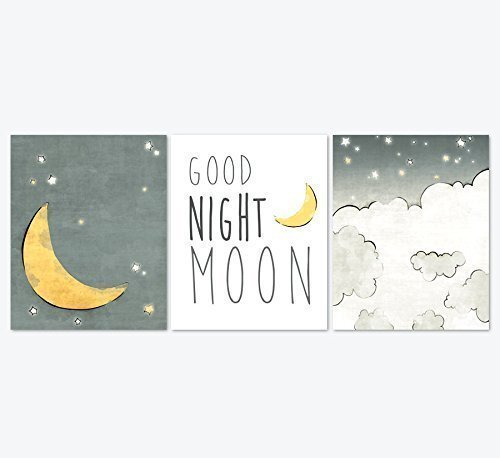 Good Night Moon Nursery Art Prints Set of 3 - Yellow, and Grey Moon and Stars Illustrations