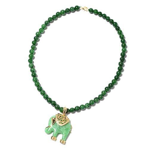 Green Jade Carved Elephant Pendant With Beaded Necklace 18