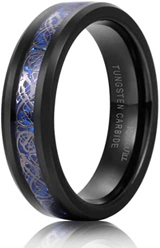 King Will DRAGON Unisex 6mm Black Celtic Dragon Blue Carbon Fiber Tungsten Carbide Ring Comfort Fit