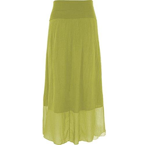 Vert Maxi soie Femmes Lagenlook italienne longue Citron Plaine Mesdames jupe 8HxwUc6