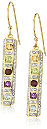 18k Yellow Gold and Rhodium Plated Sterling Silver Multi-Genuine Gemstone Drop Wire Earrings (Yellow Gem Multi Gold)