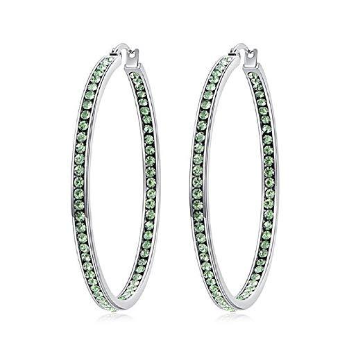 CiNily Ladies Earring Hoops-Stainless Steel Hoop Earrings for Women Green Cubic Zirconia Large Big Hoop Earrings Hypoallergenic for Sensitive Ears