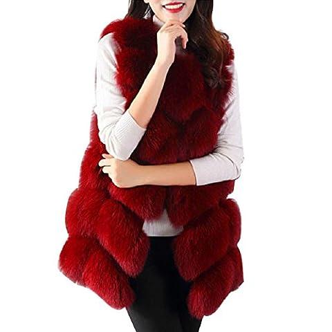 Mchoice Women Warm Slim Vest Faux Fox Fur Waistcoat Jacket Coat (S, Red)