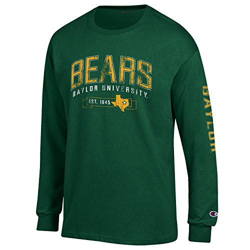 NCAA Baylor Bears Men's Champion Men's Fair Catch Long sleeve T-Shirt, Small, Dark - Fair Mens