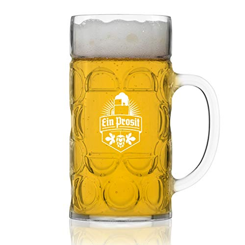 Unbreakable 1L Oktoberfest German Beer Mug with Handle (44 oz.) Classic Stein with Dimpled Finish- Vintage Party Brew Tankard- Thick, Durable Styrene- Made in USA by DU VINO