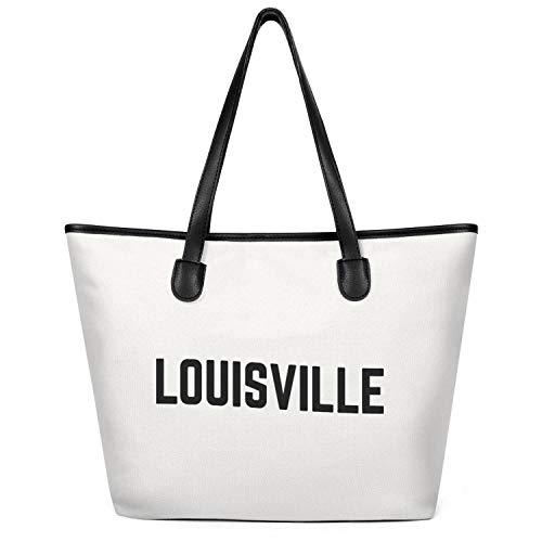 12.5X14 Inches Cute Zip Custom Design Canvas Large Tote Bag For Women Louisville City Typography Logo Foldaway Travel Beach Work Gym Book Lunch School Shopping Shoulder Handbag]()