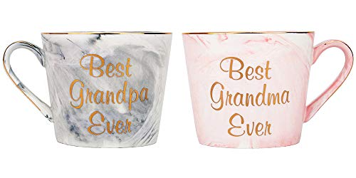 (Happy Homewares Beautifully Designed Best Grandma and Grandpa Pink and Grey Marble 12oz Ceramic Mugs with Golden Metal Trim Lovely Gift Idea for Loving Grandparents)