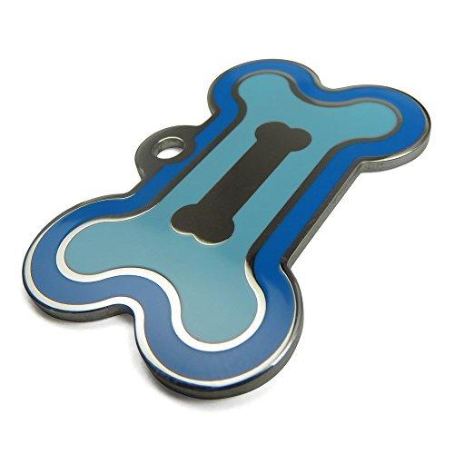 MyIDDog USA - Custom Engraved Stainless Steel Dog ID, Large Bone, Double Frames, Light Blue with Dark Blue Boarder