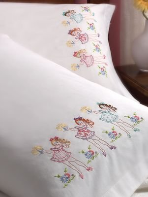 Amazon Bucilla Stamped Embroidery Pillow Case Pair Kit 30 By