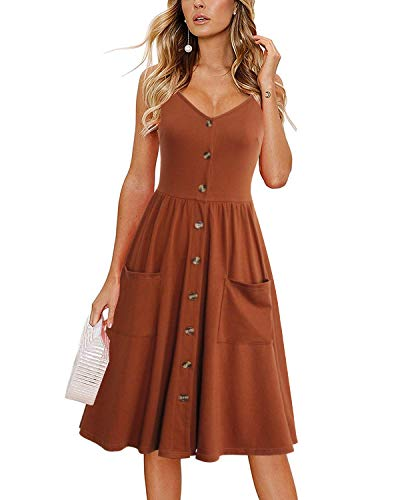 Lyrur Women's Flattering Boho Floral Beach Summer Flowy Skater Dress Big Pockets Sundress with Straps(L, 9075-Caramel) ()