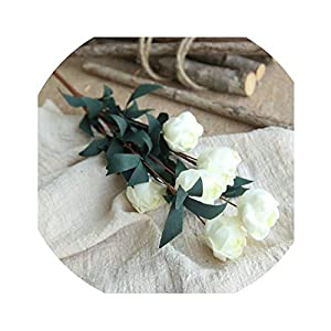 SATOSHI DUN 6 Heads/Bouquet Rose Artificial Flower Home Decor Imitation Fake Flower for Garden Desk Decor Hand-Holding,1 34