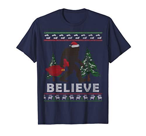 Sasquatch Santa Ugly Tee Shirt Yeti Xmas Bigfoot T-Shirt -