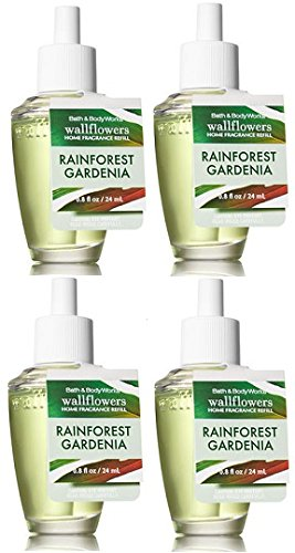 Bath and Body Works 4 Pack Rainforest Gardenia Wallflower Fragrance Refill 0.8 Oz