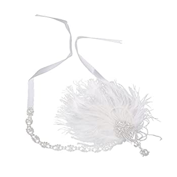 MagiDeal Women's Wedding Vintage Feather Fascinator Headpiece Headband for Fancy Party