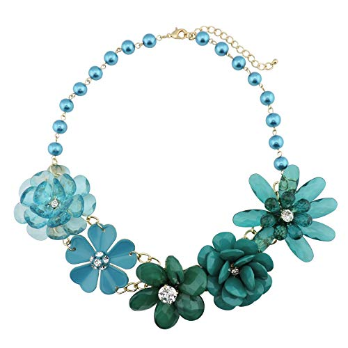 Bocar 5 Flower Braided Crystal Statement Chunky Necklace Bib Collar Pearl Jewelry for Women (NK-10127-teal)
