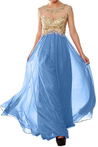 MACloth Women Cap Sleeve Gold Lace Chiffon Long Prom Dress Evening Formal Gown Cielo azul
