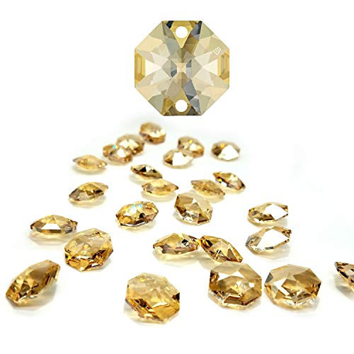 (CrystalPlace 12 Pcs Swarovski Crystal, 14mm Golden Shadow Two Holes Strass Octagon Lily, Ideal for Jewelry Making, Chandelier Parts, Arts Crafts)