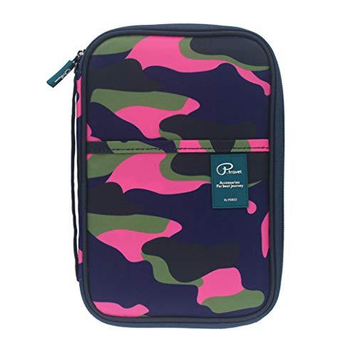 (Family Passport Holder Travel Wallet,Great Capacity Passport Wallet,Multifunctional Family Daily Wallet,Travel Documents Organizer Passort Bag for Family Men Women Ladies (Camo Pink).)