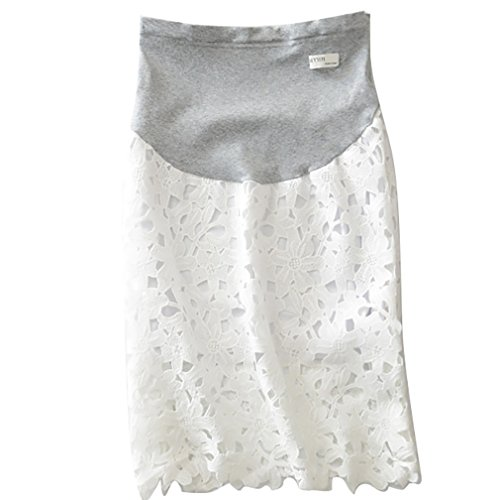 YeeSure YF07 Maternity Lace Midi Skirt A-Line Hollow Out Short Skirt for Pregnant Mothers Women (L, White)