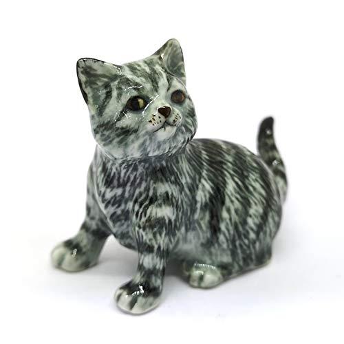 ZOOCRAFT Handmade Miniatures Collectible Ceramic Porcelain Gray Tabby Cat Figurine Ceramic Glazed Cat Figurine
