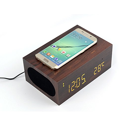 TuoP@ Bedside Multi-Function Qi Wireless Charger Bluetooth Wood Speaker System Project with Built in Mic, NFC, Temperature/Time Display, Alarm Clock for Smartphones Laptop and Other Digital Devices