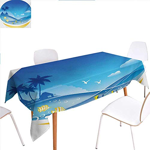 familytaste Tropical Animals Rectangular Tablecloth Exotic Sea Waves in Fauna Frame with Gulls and Coconut Trees Journey Oblong Wrinkle Resistant Tablecloth 60