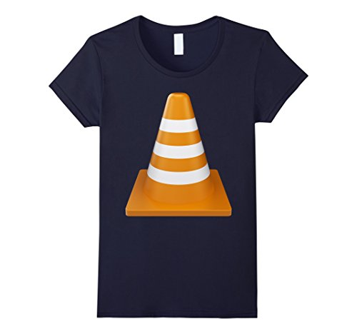 Road Cone Costume (Womens Orange Traffic Cone T-Shirt Construction theme party Small Navy)