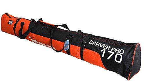 BRUBAKER Padded Ski Bag Skibag Carver Pro 2.0 with strong 2-Way Zip and Compression Straps - Orange Black - 66 7/8