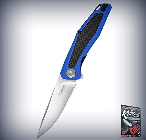 (New Atmos Blue G10 Carbon Fiber Satin Stainless Folding Pro Tactical Elite Knife BLU for Home Camping Hunting Rescue + free Ebook by ProTactical