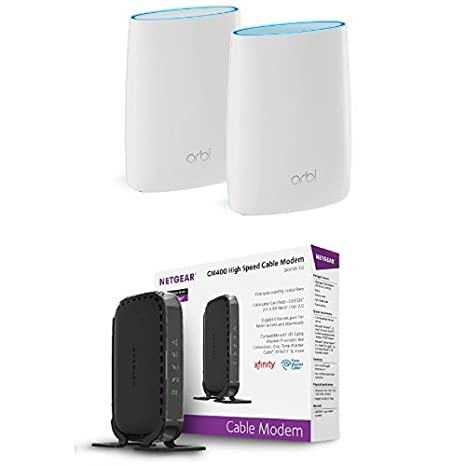 NETGEAR Orbi High-performance AC3000 Tri-band Mesh WiFi System (RBK50) with  NETGEAR CM400 8x4 Cable Modem DOCSIS 3 0 Max Download Speeds of 343Mbps