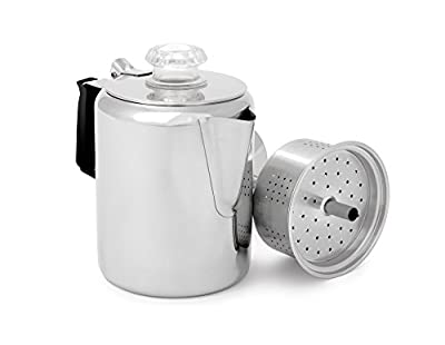 GSI Outdoors Glacier Stainless Steel Percolator Coffee Pot with Silicone Handle