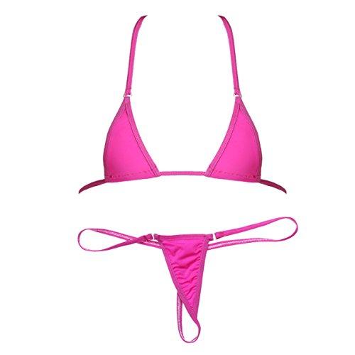 Halter Micro Mini Halter Top - Freebily Women's Mini Bikini Swimsuit Halter Top Bra with Micro Thongs G string Sheer Lingerie Set Rose One Size