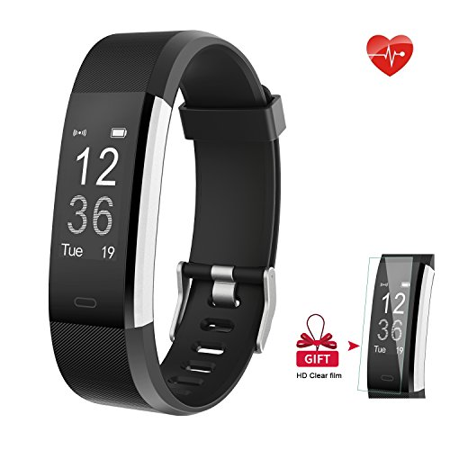 Fitness Tracker - AIEX Heart Rate Monitor Smart Watch With Connected GPS Tracker - 14 Sports Mode - Message Notification - Waterproof Activity Tracker for Android and iOS with Gift Screen Protector (Black)