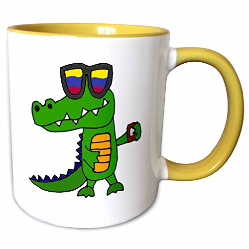 3dRose All Smiles Art Funny - Funny Cool Alligator in Sunglasses with Cell Phone - 11oz Two-Tone Yellow Mug - Sunglasses Alligator