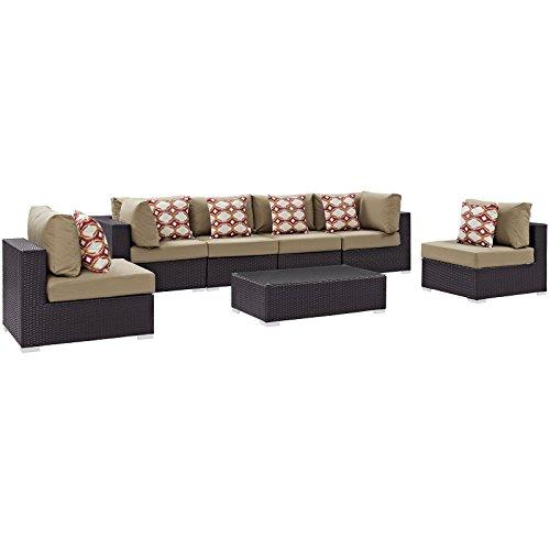 Modway Convene Wicker Rattan 7-Piece Outdoor Patio Sectional Sofa Furniture Set in Espresso Mocha