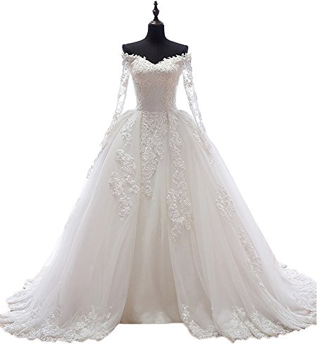Beauty Bridal Boat Neck with Sleeves Long Train Sexy Wedding Dress for Bride 2016(14,White)