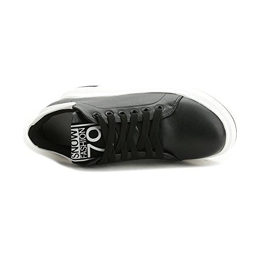 Giy Femmes Mode Faible Haut Top Lacets Baskets Plate-forme Augmenté Hauteur Chaussures De Sport Décontracté Noir